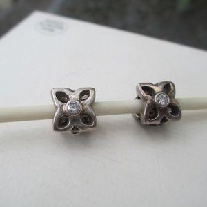 lot of 2 Pandora flower cz bead